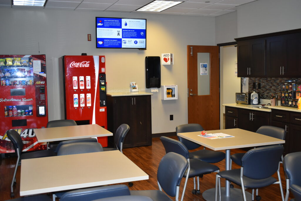 Clayton County Water Authority (CCWA) Implements Digital Signage to Clean Up Communications: Clayton County Water Skykit Monitor in Breakroom