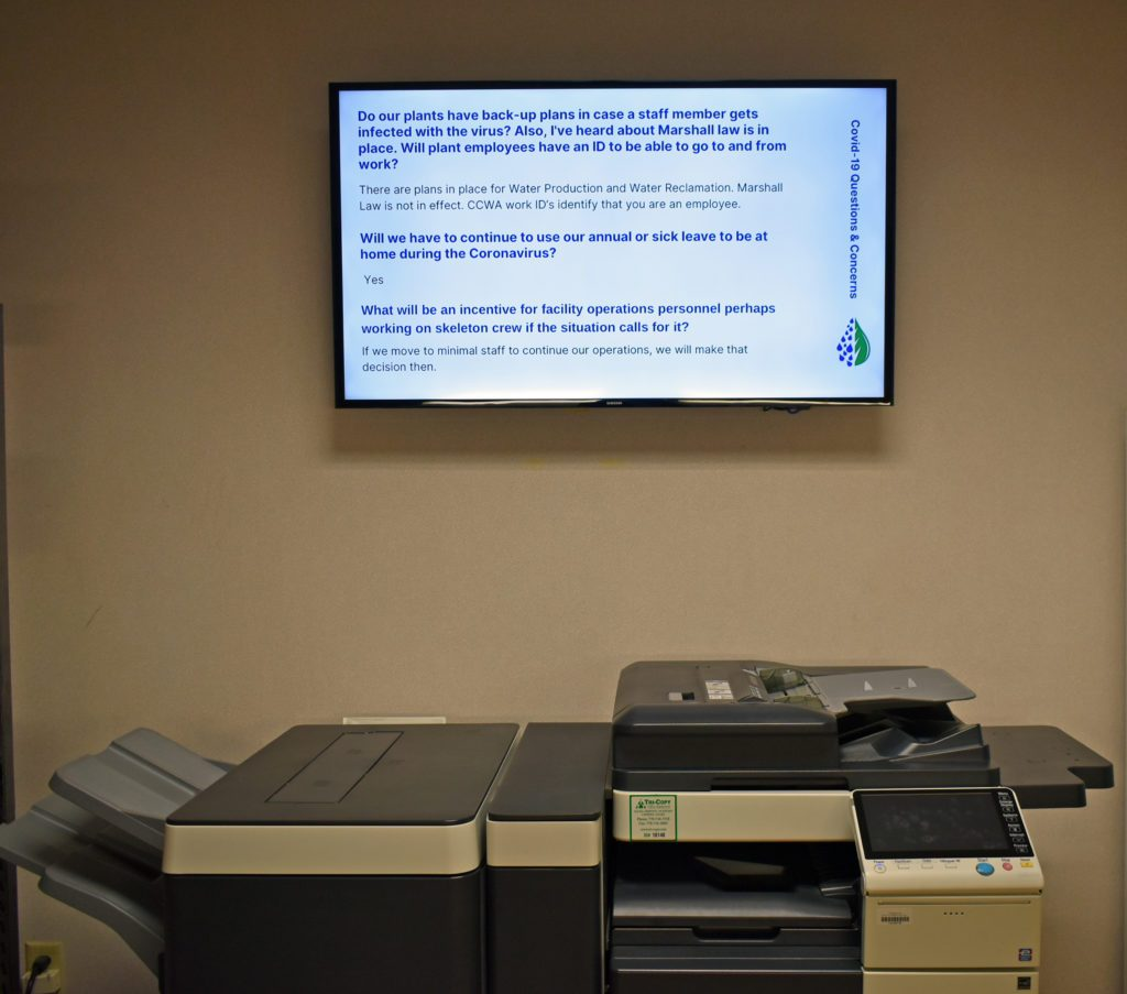 Clayton County Water Authority (CCWA) Implements Digital Signage to Clean Up Communications: Clayton County Water Skykit Monitors in copier room