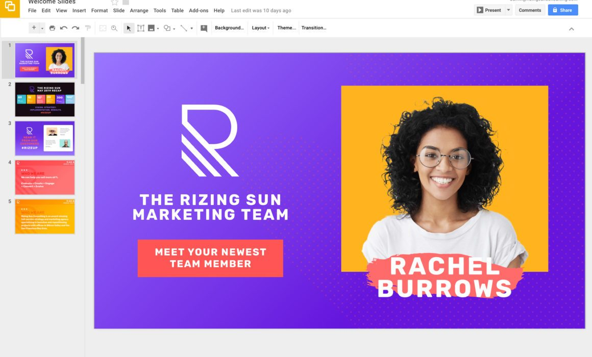 How To Easily Create Content for Digital Signage: Corporate Rize Google Slides