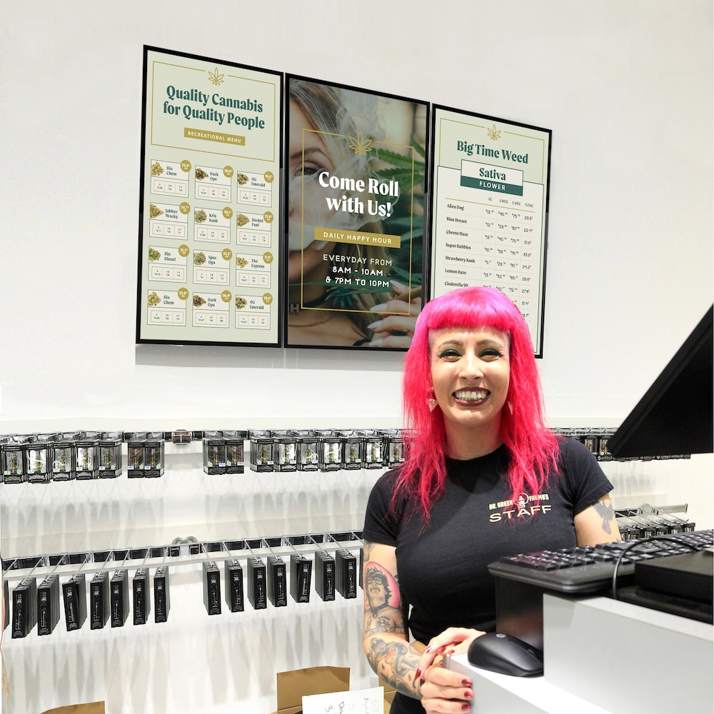 Skykit Digital Signage for Dispensaries | Behind the Counter
