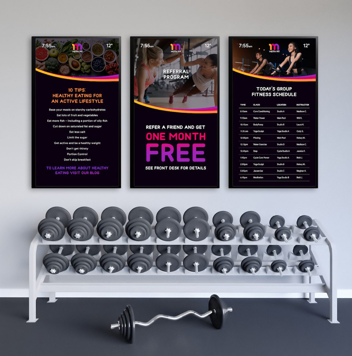 digital signage in gym made easy by Skykit