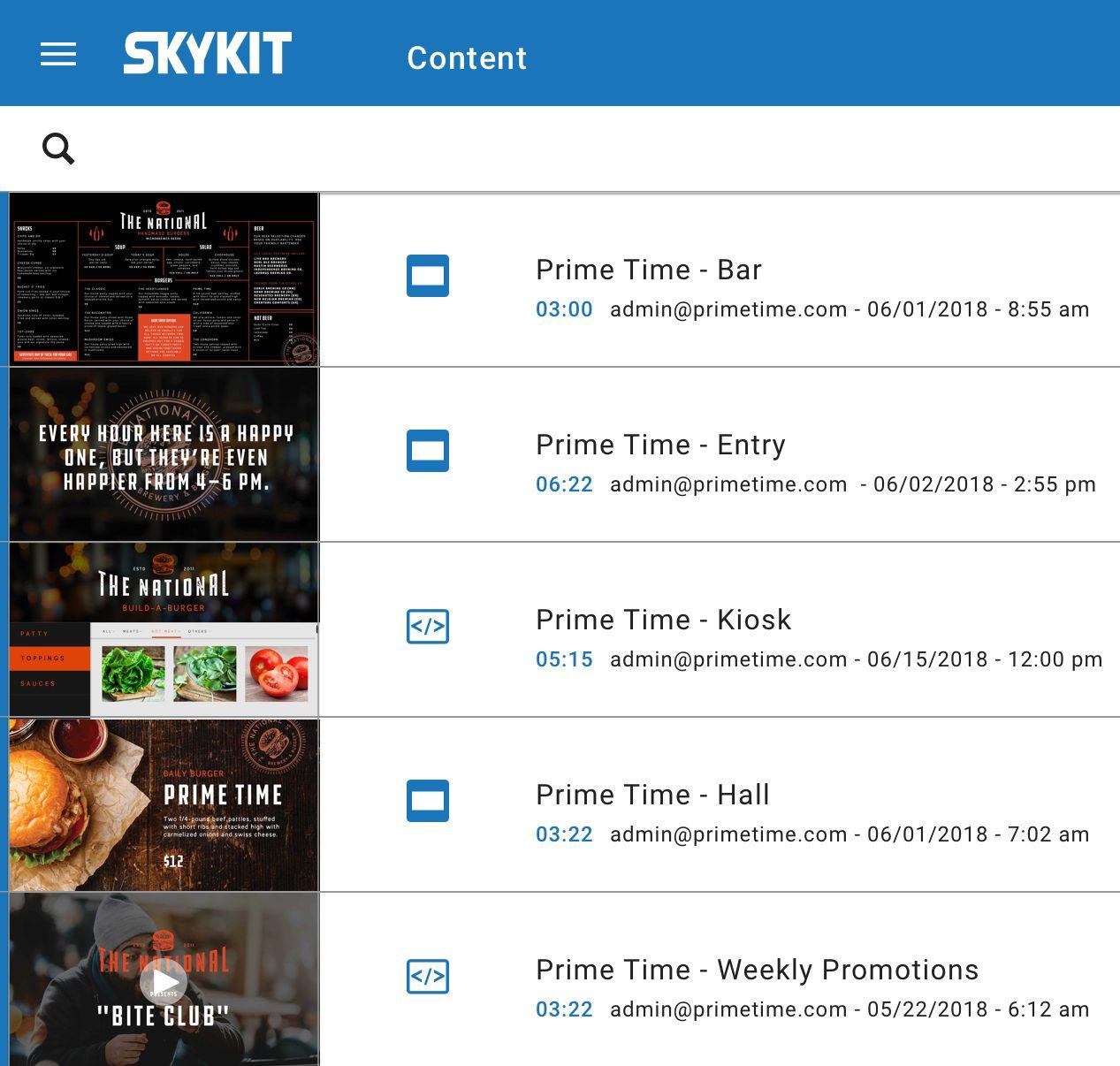 skykit content options