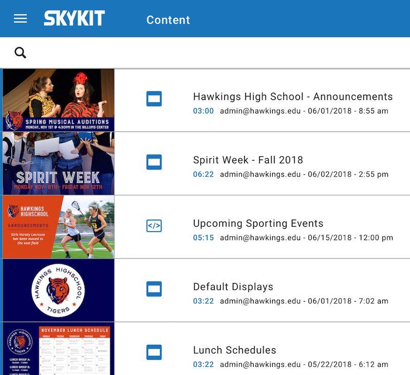 skykit digital content options