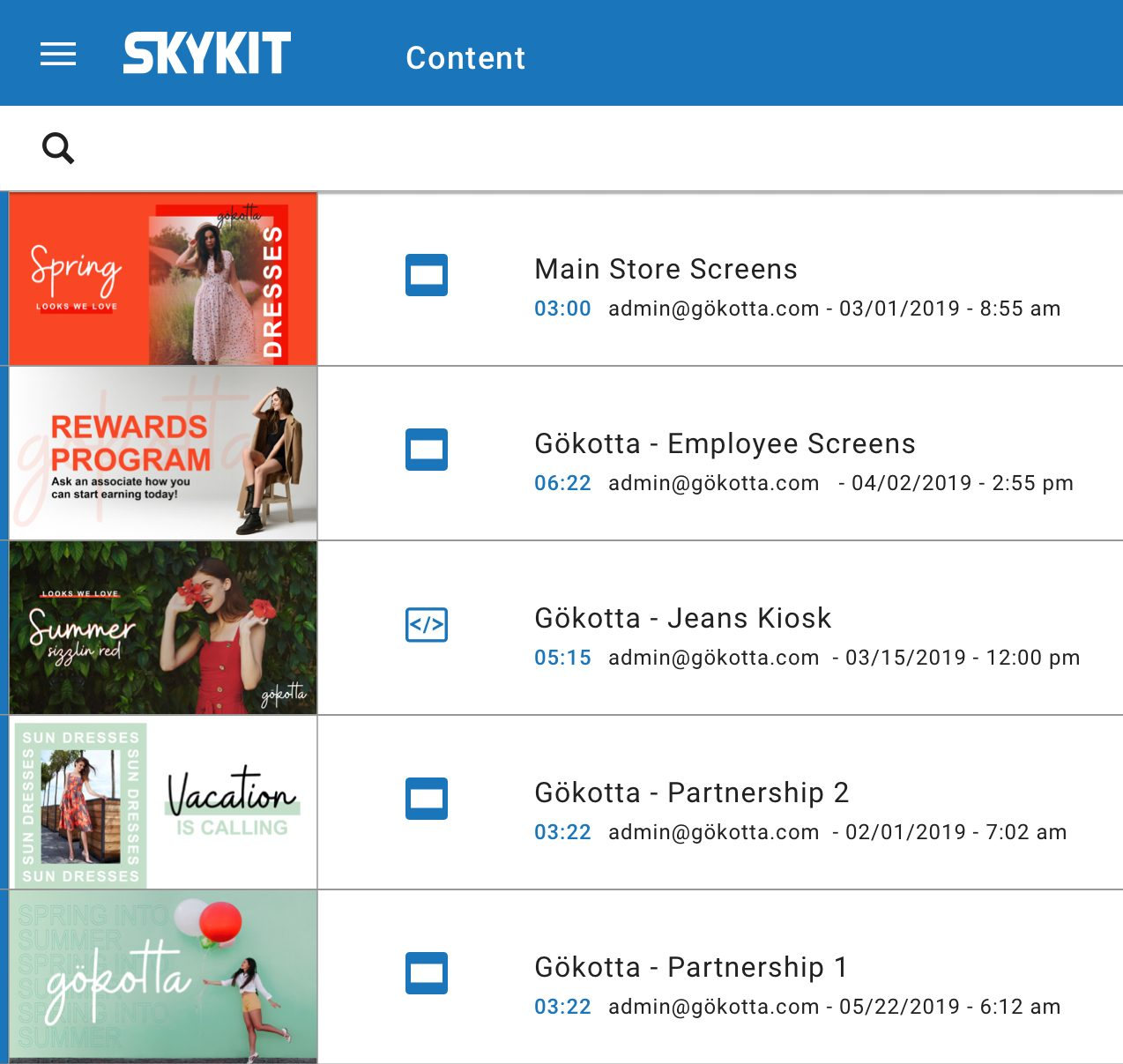 skykit digital signage content optons