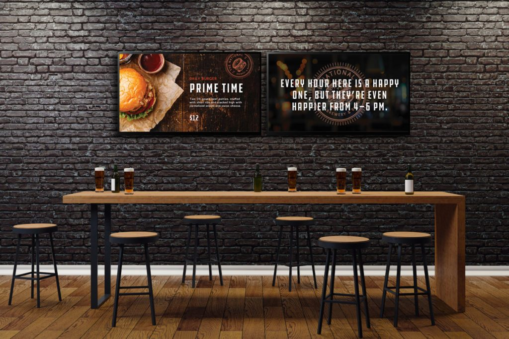 Food service digital signs by Skykit sports