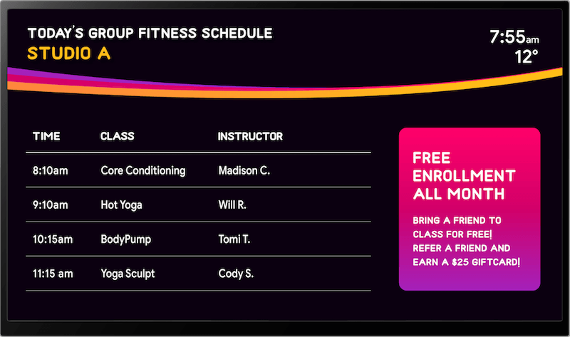 gym signs and schedule by Skykit