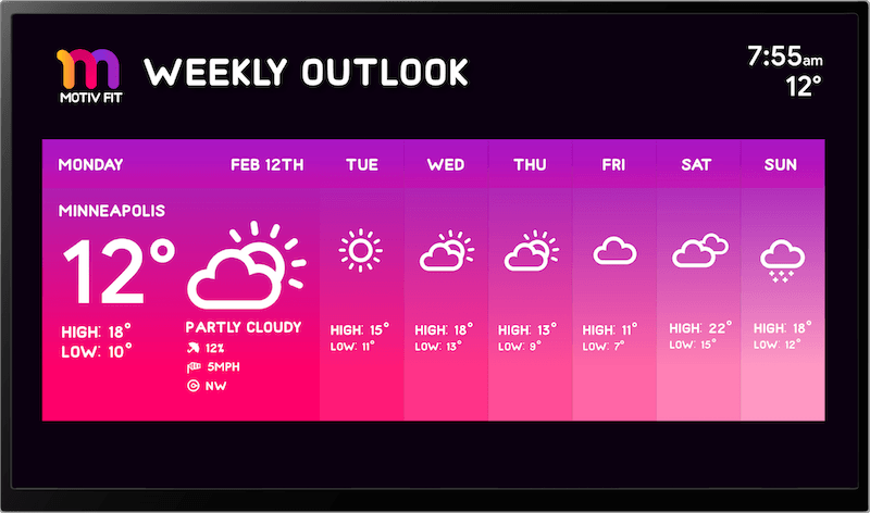 digital signage showing weather by Skykit