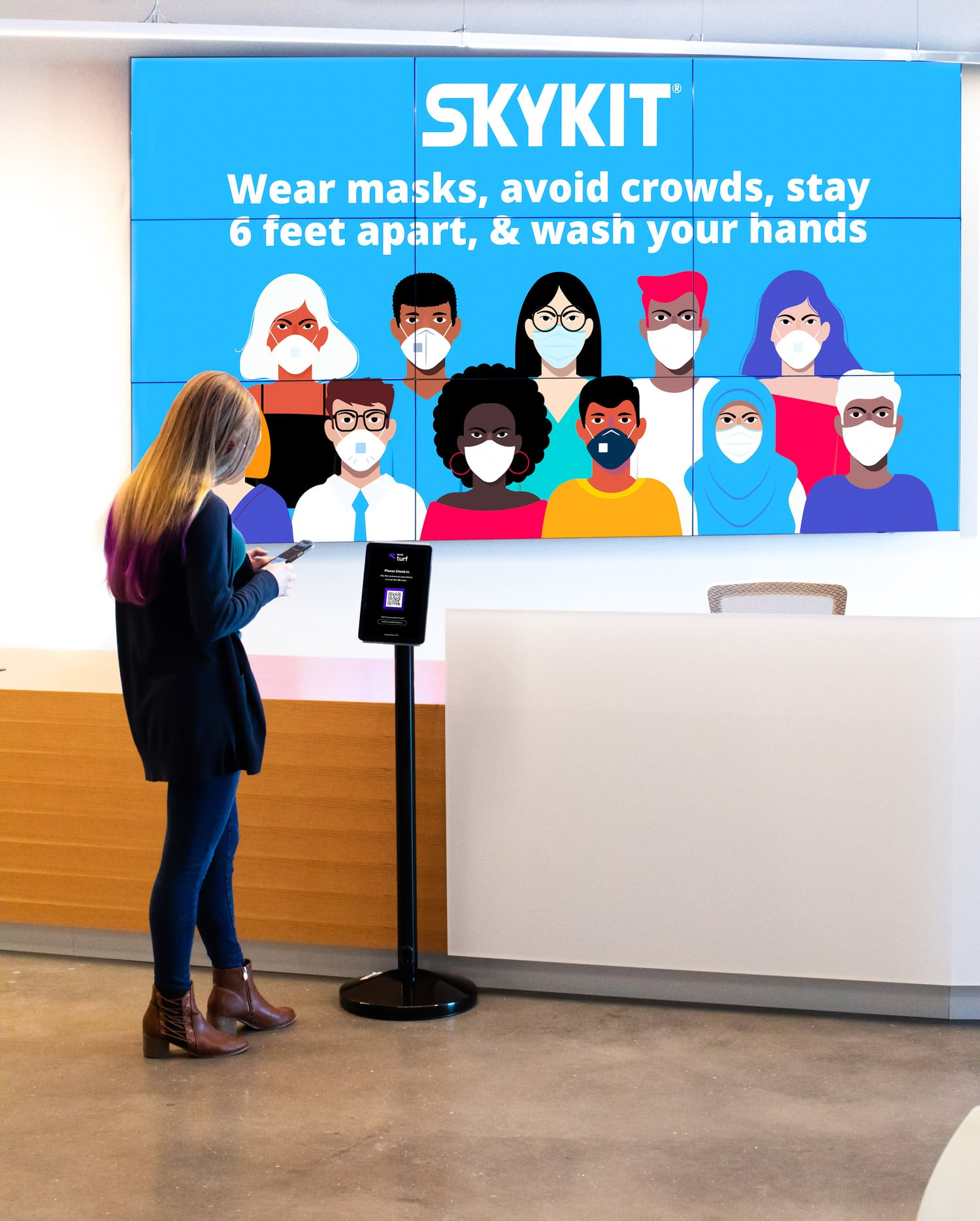Skykit Beam Digital Signage and Turf Check-In Returning to Work