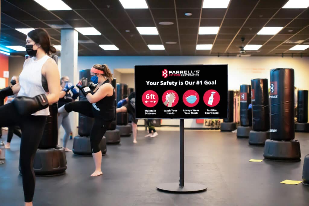 3 Ways Digital Signage Is Helping Businesses Fight Back: Skykit Beam Digital Signage USA Today America Renewed Publication Farrells Gym Safety 2