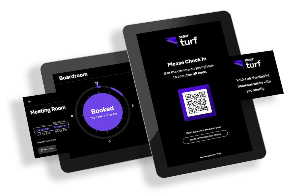 Digital Signage & Workplace Experience Solutions: Skykit Turf Check In and Space Booking Management Software 1